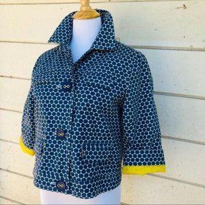 New Boden Womens Sz 8 Cropped Blazer Polka Dot
